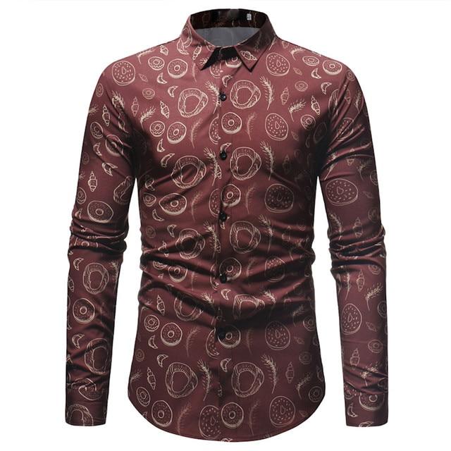 03fb59a89 Casual Plus Size Shirt Men Vintage Flower Blusa Tops Novelty Blouse  Business Office Clothing Big Size Punk Rock Party Shirts