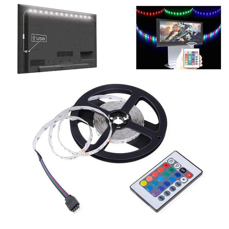 Lampu Strip LED RGB TV USB Power 5V 6V SMD 3528 LED Strip Putih 0.5M 1M 2M 3M 4M 5M Natal Dekorasi Lampu TV Pencahayaan Latar Belakang