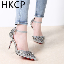 HKCP Ultra high-heeled women's stiletto heels with the new spring 2019 sequins go well with single-toe pointed sandals C058
