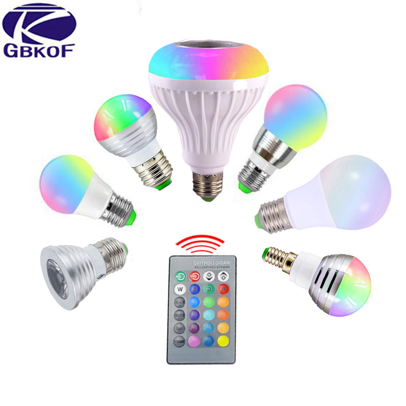 Real power E27 E14 RGB LED Bulb GU10 3W 5W 7W 12W Decoration LED lamp AC 110V 220V+24key Remote Dimmer Colorful Night light