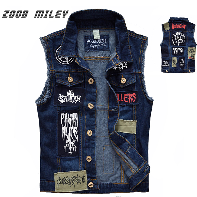 Klassische Vintage Herrenjeans Weste Ärmellose Jacken Mode Patch Designs Punk Rock Stil Zerrissene Cowboy Frayed Denim Weste Tanks