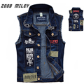 Classic Vintage Men's Jeans Vest Sleeveless Jackets Fashion Patch Designs Punk Rock Style Ripped Cowboy Frayed Denim Vest Tanks