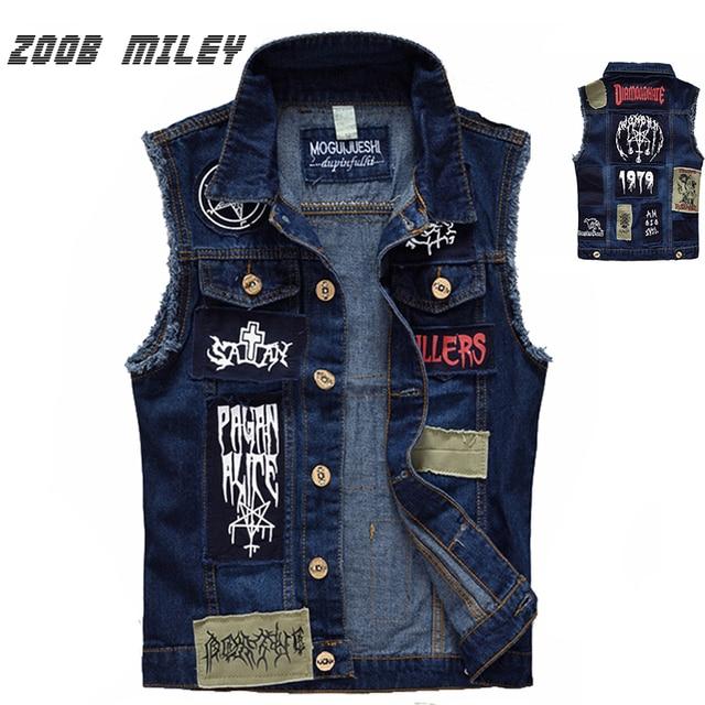 Classic Vintage Men's Jeans Vest Sleeveless Jackets Fashion Patch Designs Punk Rock Style Ripped Cowboy Frayed Denim Vest Tanks
