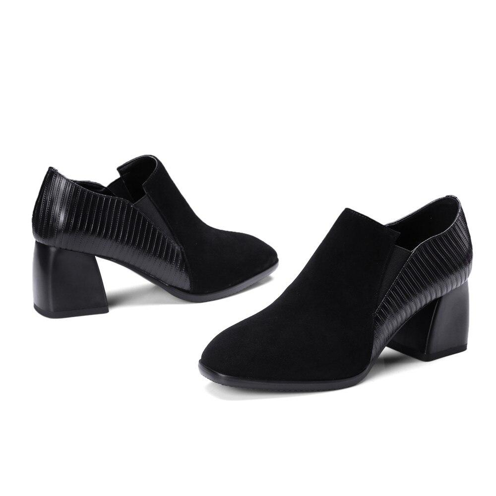 Grande Zapatos Pie Altos Deslizamiento Los En Cuero Bombas Dedo Del Mujeres Negro De Masgulahe Otoño Cuadrados 34 Resorte Tamaño Talones 42 Moda Genuino fZ87R0qg