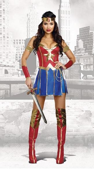 efa74a0d72c04 Vocole Sexy Halloween Wonder Woman Cosplay Costume Superhero ...