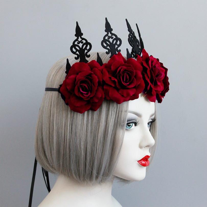 Red Rose Flower Hair Jewelry Crown Tiara For Women Gothic Female Wedding Hair Accessories Ornaments Princess Queen Head Jewelry in Hair Jewelry from Jewelry Accessories