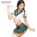 Z & KOZE Novas Mulheres Moda Vestuário Exotic lingerie sexy traje Colegial Xadrez 2 pcs Lingeries Set tops + Mini Saia plissada