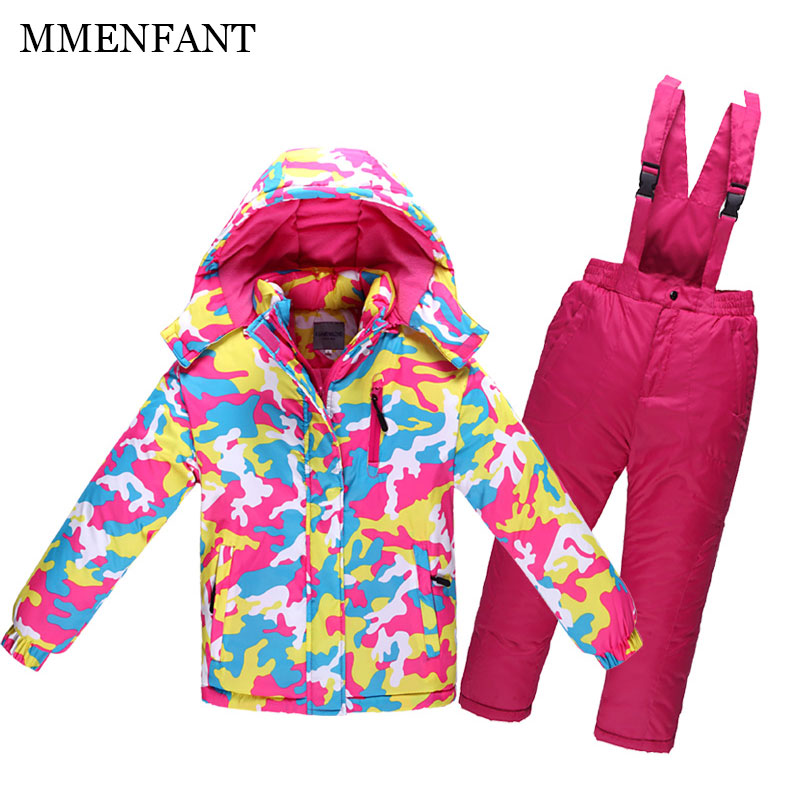Children Outerwear new 2017 winter girls Warm Coat Sporty Ski Suit Kids Clothes Sets Waterproof Windproof boys Jackets For 3-14T