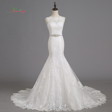 Fmogl Elegant Scoop Neck Mermaid Wedding Dress Chapel Train