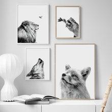 Nero Bianco Animali Lupo leone volpe Procione Collo di Arte Della Parete della Tela di Canapa Pittura Nordic Poster E Stampe di Immagini A Parete Per Soggiorno decor