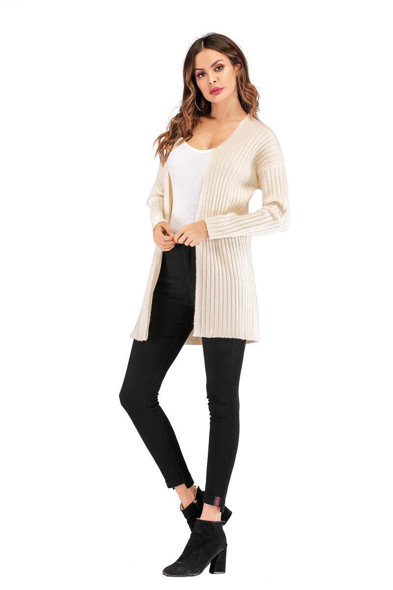 Fall Winter Cute Knitted Middle Long Ribbed Cardigan Dress for Women Kawaii Ladies Knit Drop Shoulder Sweater Coat Oversized S-L 18