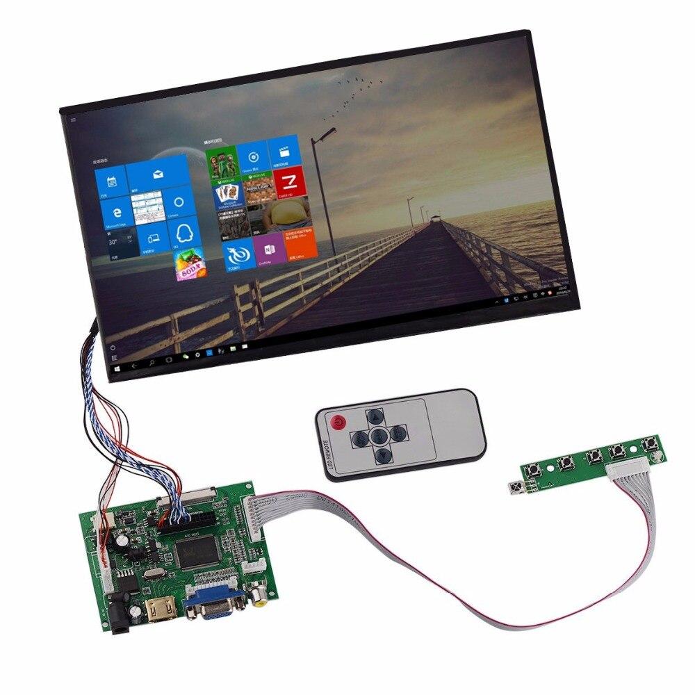 Heyman 10.1 HD LCD Display Screen High Resolution Monitor Remote Driver Control Board 2AV HDMI VGA For Lattepanda,Raspberry Pi