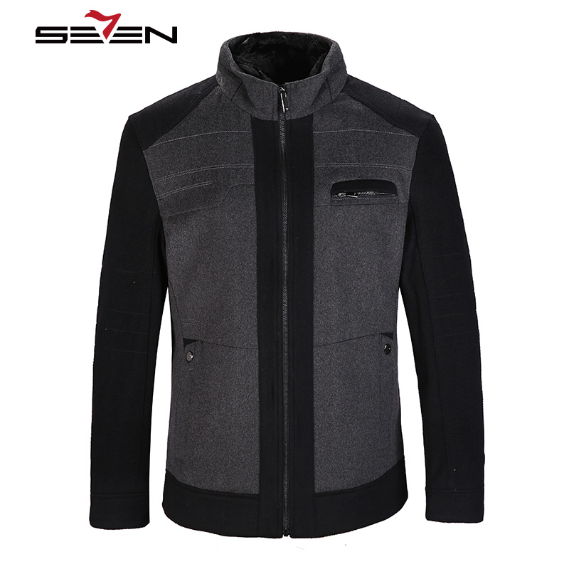 Seven7 Brand Wool Parka Men Autumn Winter Fashion Mens Jackets And Coats Men's Casual Outwear Gray Black Male Tops 805K2404 2017 slim fit fashion mens fur parka mens jackets and coats black blue jaquetas masculina inverno cotton padded parka homme