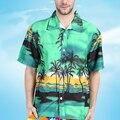 Tamanho grande 2017 Novos Chegada Dos Homens Camisa Havaiana do Casal Casual camisa masculina de Praia Impressa Camisas de Manga Curta Masculina Y2365