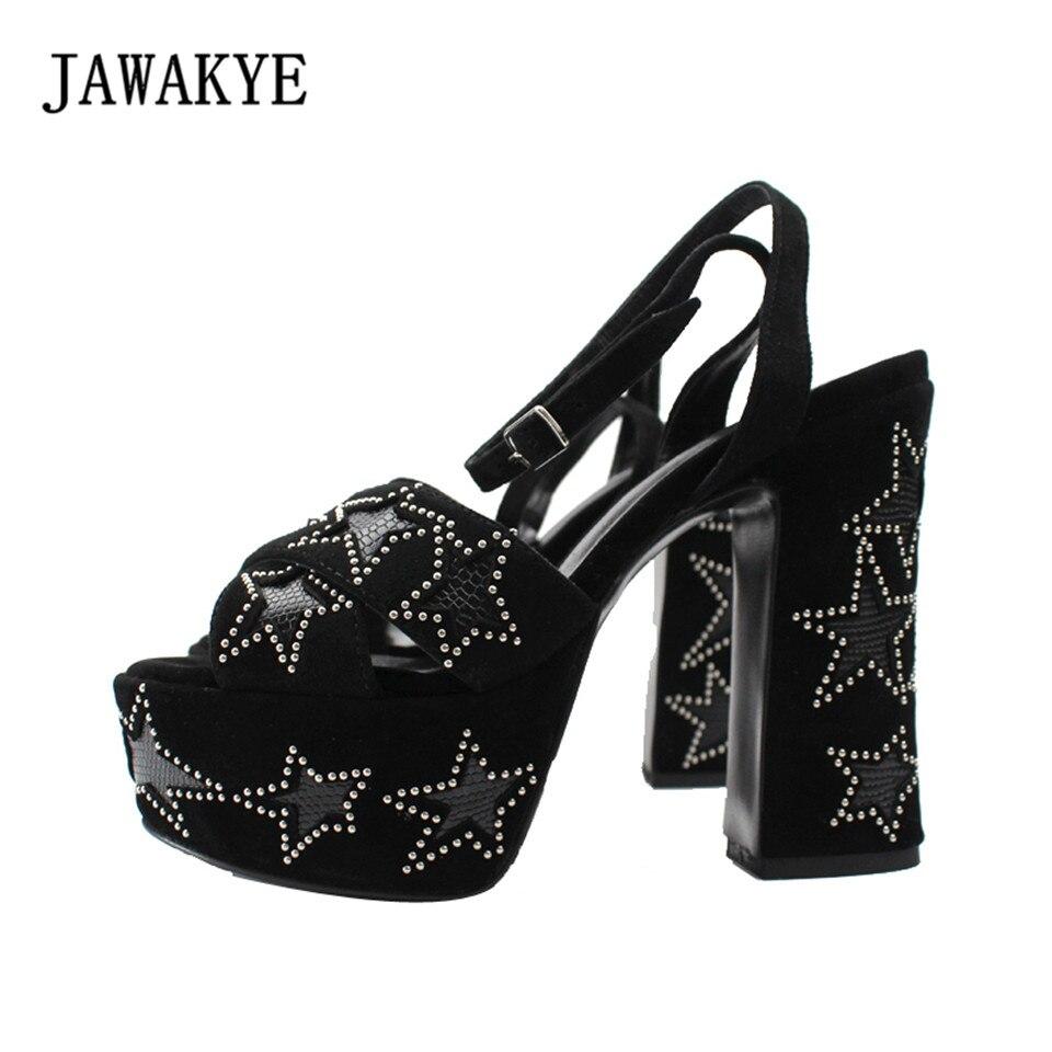 New Sexy Black Suede Platform Sandal Shoes Women Thick bottom Chunky high heels Ankle Warp Stars decorate Summer Sandalias Mujer kettner warp t