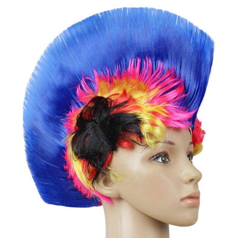 Hot Rainbow Mohawk Hair Wig Fancy Costume Punk Rock Wigs Halloween Cosplay Party 4