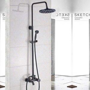 Image 5 - Античный латунный смеситель для душа с дождевой насадкой, набор для ванной комнаты с одной ручкой, настенный смеситель для душа, смеситель для ванной комнаты, смеситель для душа
