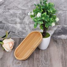 Oval Bamboo Wood Saucer Plant Tray Mini Flower Pot Stand Favor Succulent Simple Elegant Design Home Balcony Decor