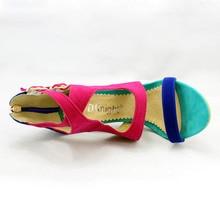 Summer High Heels Platform Gladiator Sandals Women Suede Shoes Woman Elegant Zip Pumps Casual Women Shoes Plus Size 34-43 E69