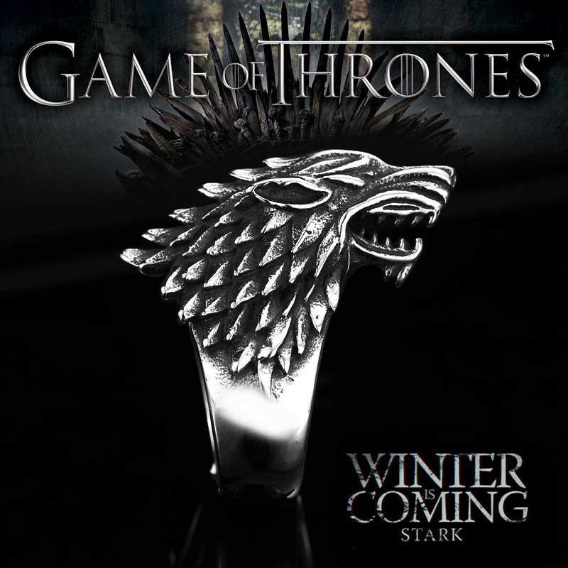 Beier չժանգոտվող պողպատ viking գայլի օղակ Game Thrones սառույց գայլ Տուն կենդանիների տղամարդկանց օղակ Նորաձևություն բարձրորակ զարդեր LLBR8-351R