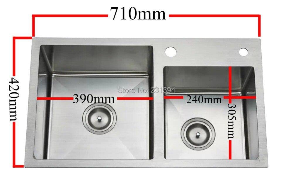 710*420*220mm Stainless steel undermount kitchen sinks sets Double ...