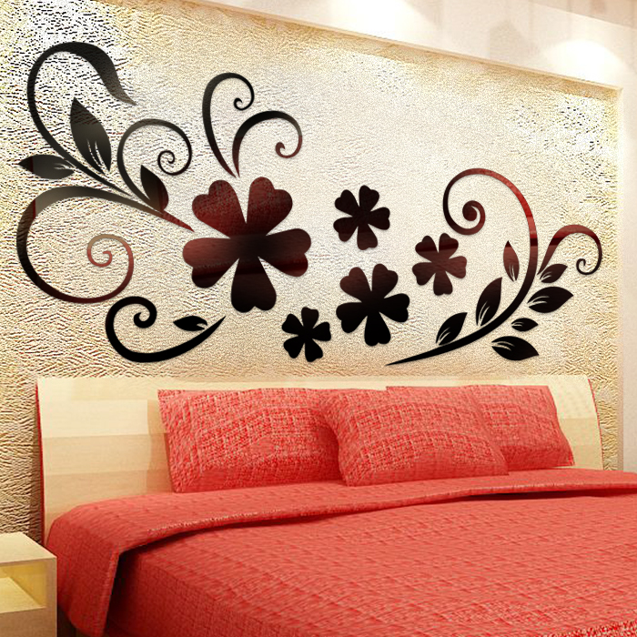 HuaAi Modern Vinyl Mural Adhesive To Wall Acrylic 3d Black Floweru0026 Branch  Decorative Wall Stickers Mirror Wall Decal For Bedroom In Wall Stickers  From Home ...
