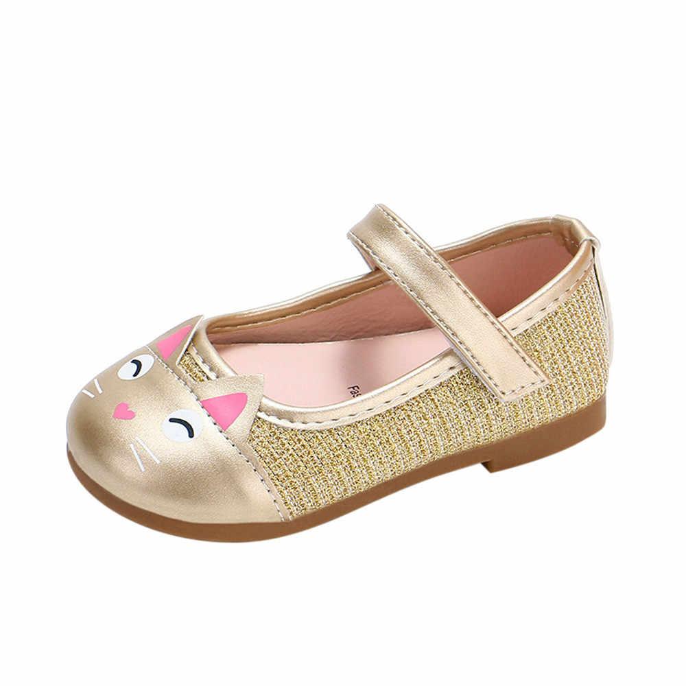 Çocuk ayakkabı kız ayakkabı bebek ayakkabısı rahat moda Pu düz ayakkabı karikatür kedi yürümeye başlayan bebek mokasen Shoes Adolescente Fille