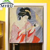 Japanese Style Creative Partition Cotton Curtain Cloth Japanese Maid Koi Carp Door Hanging Curtain