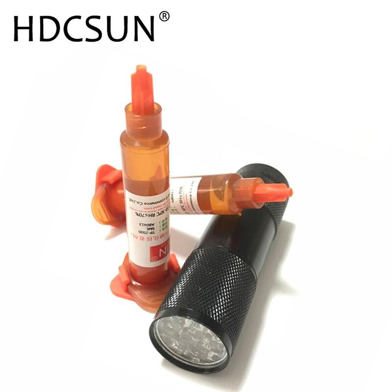 DHCSUN 10-50 pz/lotto 5 ml UV Colla LOCA Liquid Ottico Trasparente Adesivo Per IPhone Samsung Obiettivo di Vetro di Riparazione inviare un 9 ha condotto la lampada uv