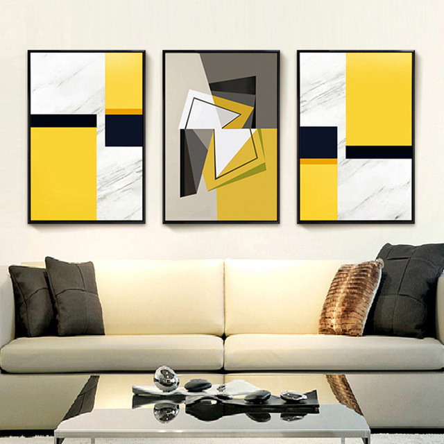 Yellow Abstract Geometric Canvas Wall Art Painting No Frame Creative ...