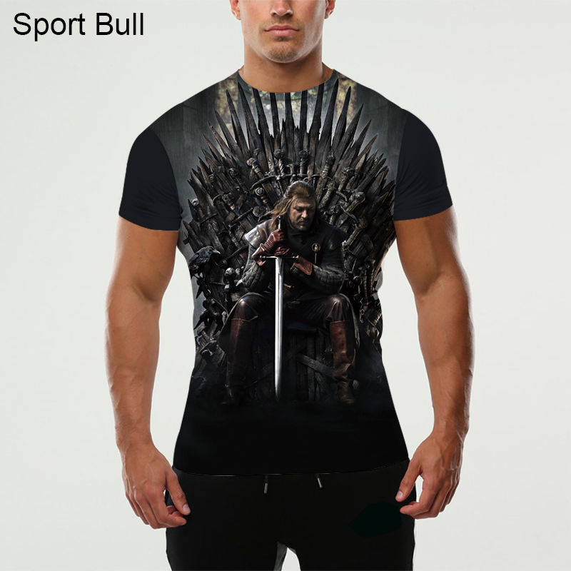 KYKU Thrones játék T-shirt férfi 3D-s póló A trón vicces pólók Hip Hop Tee Cool férfi ruházat 2018 Nyári csípő felsők