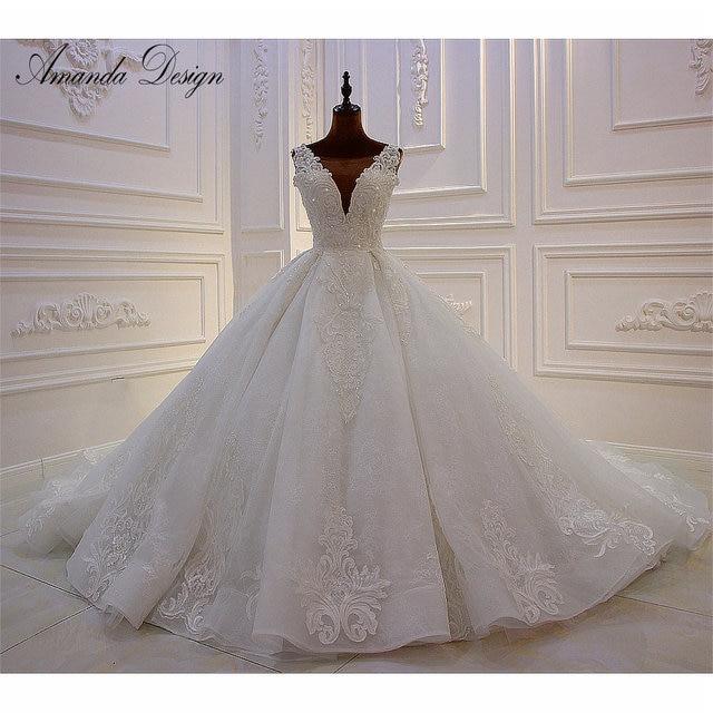 Amanda Design High end Customized Low Cut Deep V Sexy Luxury Backless Wedding Dress