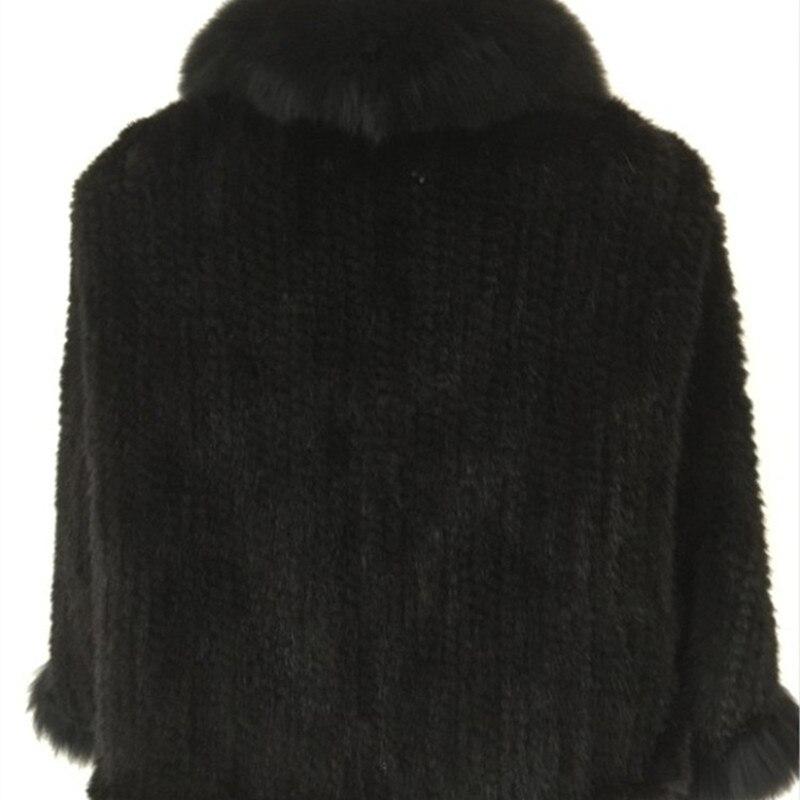 De Pashmina Femmes Fourrure Marron noir Wraps Col Dames Mariée Renard Vison Véritable Tricoté D'hiver Cape Châles Automne Manteau Veste qPHwIBP
