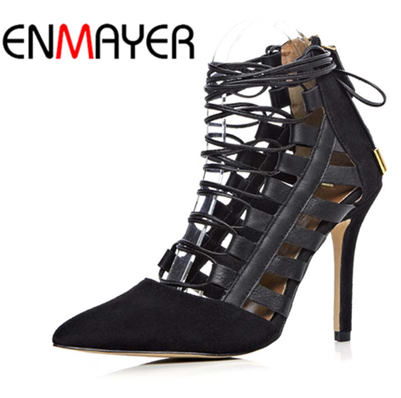 Online Get Cheap Black Leather Strappy Heels -Aliexpress.com ...