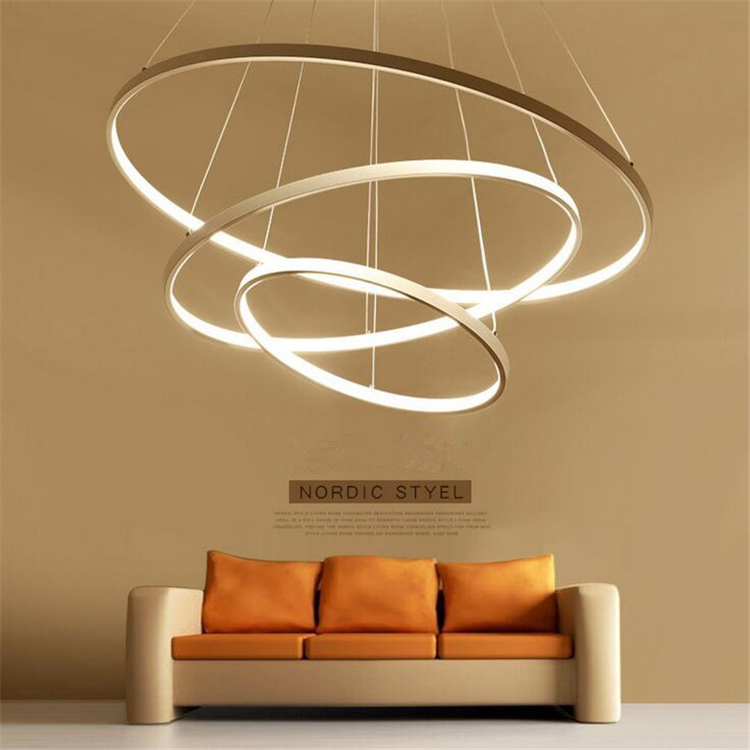 Modern Chandelier LED Rings Pendant Lamp lamparas Luminaire Suspendu hanglamp Circle Acrylic Dimming Remote Lusters For Home