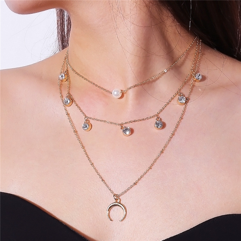 Personalized Multi-layers Women Necklaces Rhinestone Tassel Collier Half Moon Pendants Neck Jewelry NT039