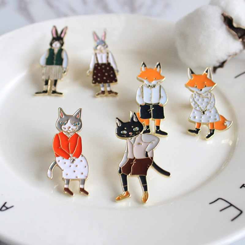 1pc Japanese Korean Version Cartoon Cute Cats Rabbits Foxes Metal Brooch Pins Fashion Jewelry Wholesale Cute Original Brooch