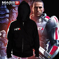 Game Mass Effect Hoodies N7 Original Armour Stripe Hoody Zipper Cosplay Costume Sweatshirts Coat Outwear High Quality Version