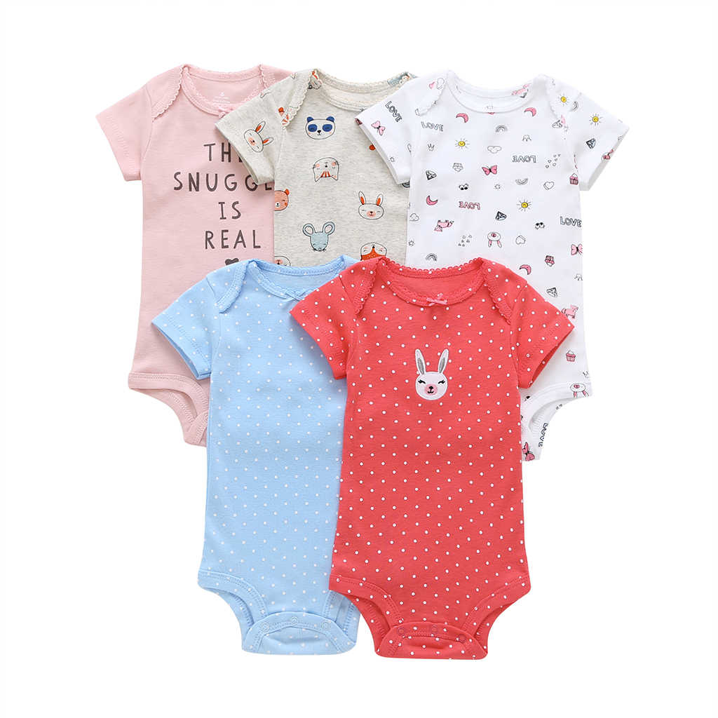a0f9ce86be12 5pcs Baby Short Sleeve Bodysuit Cute Rabbit Butterfly Knot Bodysuits 6-24m  Summer Baby Girl