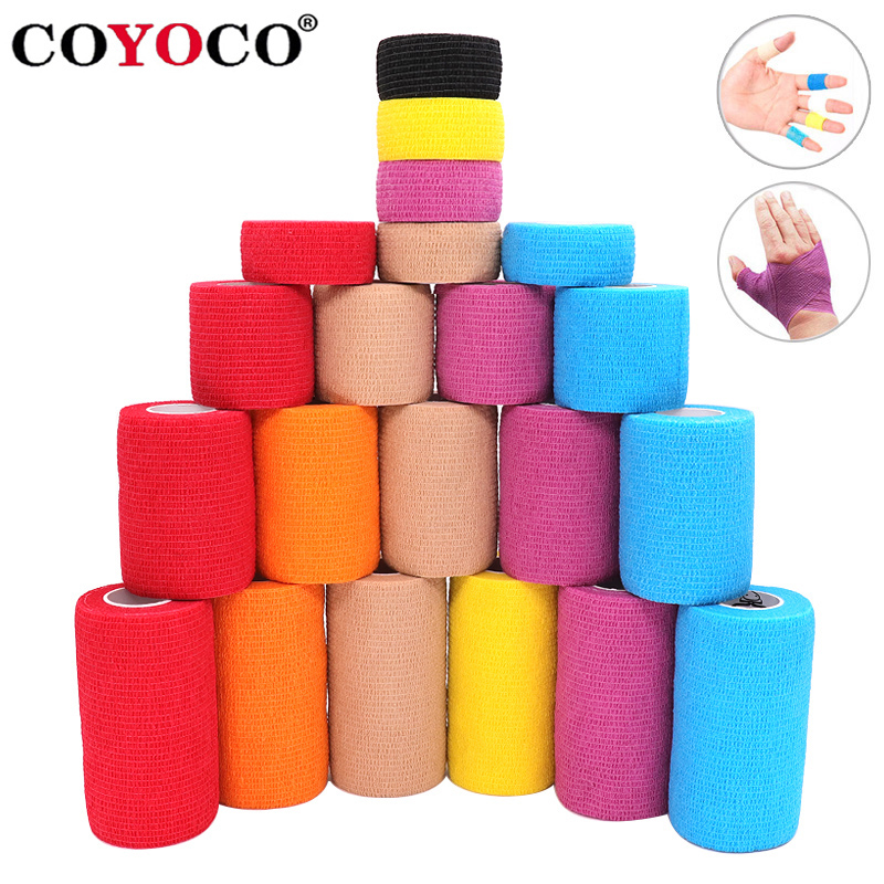 4.5m Colorful Elastoplast Elastic Wrap Tape COYOCO 2.2 Times Elastic Sports Self Adhesive Bandage For Knee Finger Ankle Palm4.5m Colorful Elastoplast Elastic Wrap Tape COYOCO 2.2 Times Elastic Sports Self Adhesive Bandage For Knee Finger Ankle Palm