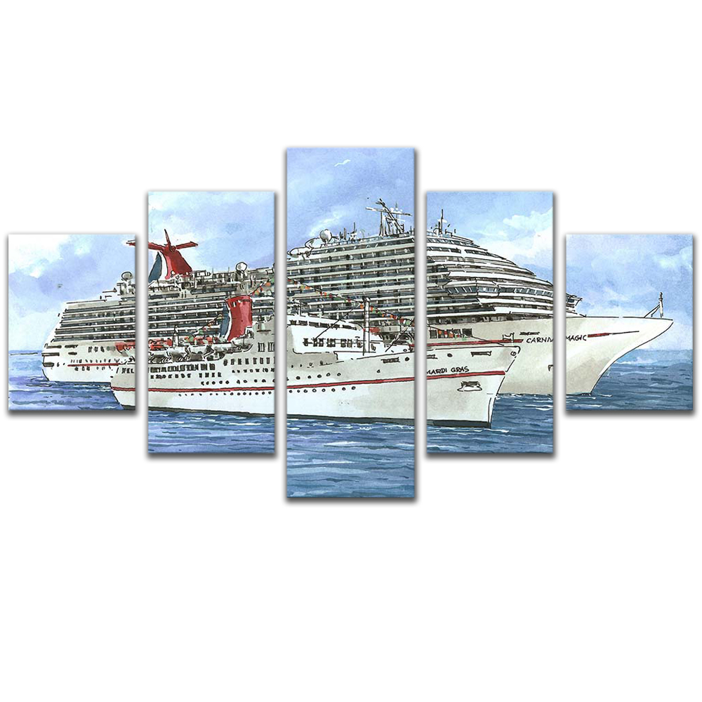 Unframed 5 HD Canvas Prints Cruise Ship Ocean Giclee Modular Picture Prints Wall Pictures For Living Room Wall Art Decoration