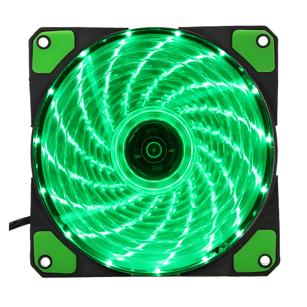 15 Lights LED PC Computer Chassis Fan Case Heatsink Cooler Cooling Fan DC 12V 4P 120*120*25mm green abs case with cooling fan heatsink removable top cover