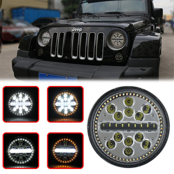 """For Jeep 63W 7"""" Round LED Headlamp H4 H/L Beam with white & Yellow Turn Amber halo Ring Signal light"""