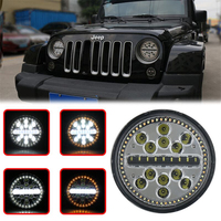 For Jeep 63W 7 Round LED Headlamp H4 H/L Beam with white & Yellow Turn Amber halo Ring Signal light
