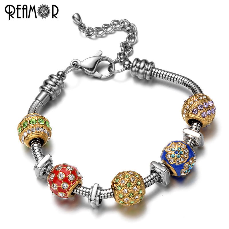 REAMOR 316l Stainless Steel Gold-color European Crystal Beads Pan Style Bracelet Snake Chains Charms Colorful Women Bracelet