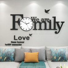 Creative MEISD Family Alphabet Large Wall Clock Modern Design Silent Hanging Clocks With Stickers Living Room Free Shipping