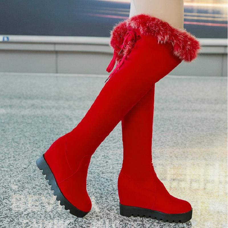 winter boots women snow boots over the knee boots height increasing high boots 2017 red suede female heel shoes woman &3s999 women over the knee boots suede thigh high boots 2017 autumn winter ladies fashion fur warm high heel boots snow shoes woman