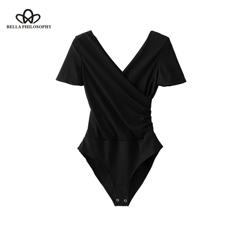 Bella Philosophy women cross V neck knitted bodysuits black white short sleeve stretchable playsuits female fashion chic tops