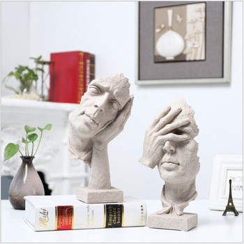 Human Statues Resin Sculptures Small Figurines / Silence Is Gold Office Home Decoration / Manualidades  Crafts Home Decor