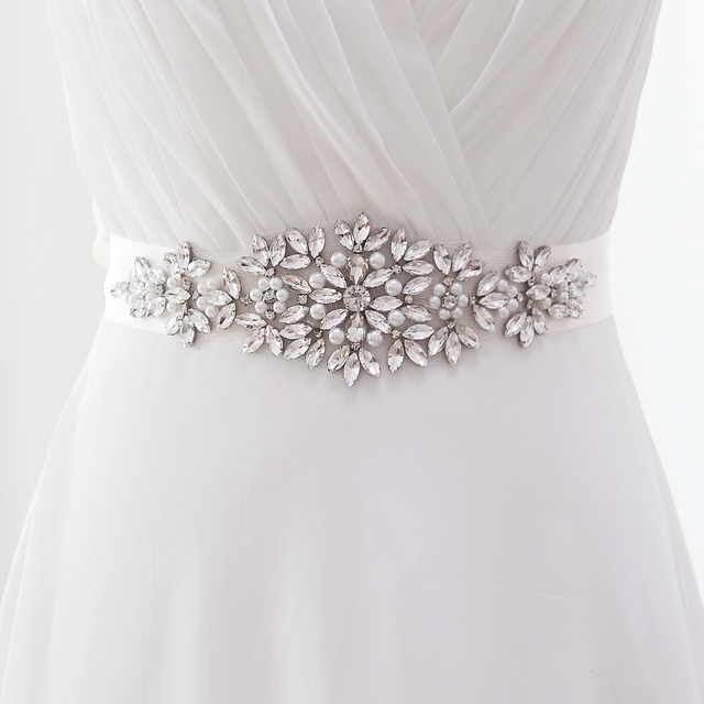 TOPQUEEN S266 Stock Crystal Rhinestone Belt Fashion Bridal Sash Accesories Dress Sash Free shipping